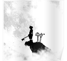 black and white contrast sora keyblade hill Poster