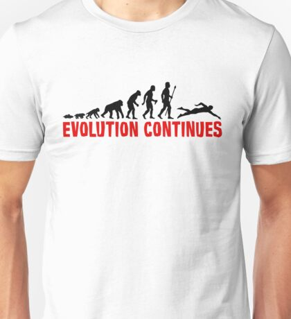 Funny Swimming Evolution Silhouette Unisex T-Shirt