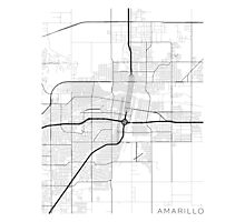 Amarillo Map, USA - Black and White Photographic Print