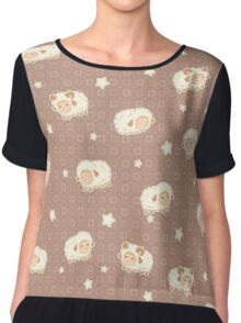 Cute Little Sheep on Tan Brown Chiffon Top