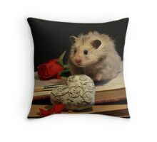 Hamster write a poem Throw Pillow