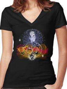 Music heals Women's Fitted V-Neck T-Shirt