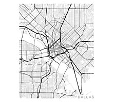 Dallas Map, USA - Black and White Photographic Print