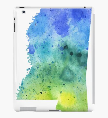 Watercolor Map of Mississippi, USA in Blue and Green  iPad Case/Skin