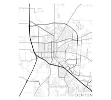 Denton Map, USA - Black and White Photographic Print