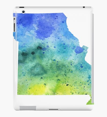 Watercolor Map of Missouri, USA in Blue and Green iPad Case/Skin