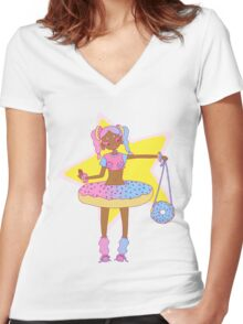 stars and sprinkles Women's Fitted V-Neck T-Shirt