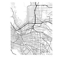 El Paso Map, USA - Black and White Photographic Print