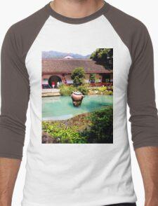Tea Garden, Photo / Digital Painting Men's Baseball ¾ T-Shirt