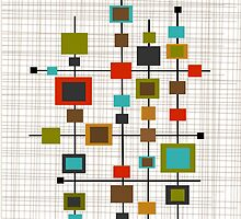 Mid-Century Abstract Squares by Gail Gabel, LLC