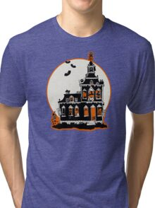 Vintage Style Haunted House - Happy Halloween Tri-blend T-Shirt