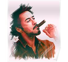Robert Downey Jr. with cigar, digital painting  Poster
