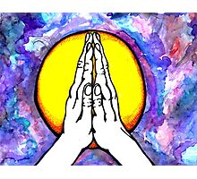 Peaceful Hands- Colorful Mixed Media Art Photographic Print