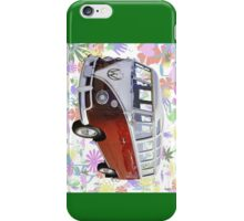 VW 21 window Mini Bus And Hippie Background iPhone Case/Skin