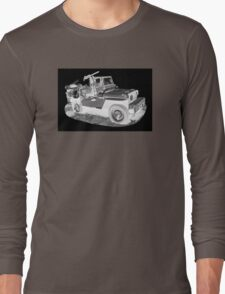 Black And White Willys World War Two Army Jeep Long Sleeve T-Shirt