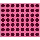 Polka dots maroon on pink. by graphicdoodles