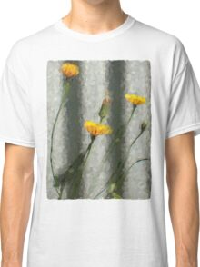 Yellow Dandelions in front of the Iron Fence Classic T-Shirt