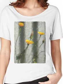 Yellow Dandelions in front of the Iron Fence Women's Relaxed Fit T-Shirt