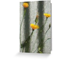 Yellow Dandelions in front of the Iron Fence Greeting Card