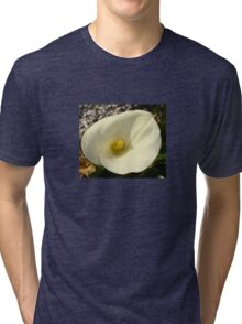 Single Cream White Calla Lily With Garden Background Tri-blend T-Shirt