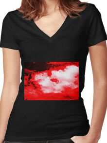 WHITE & BLACK CLOUDS - RED SKY Women's Fitted V-Neck T-Shirt