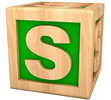 Green Letter S Photographic Print