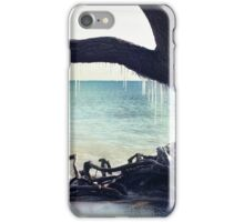 Icicles hang from a tree on the beach landscape iPhone Case/Skin
