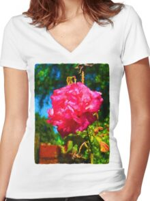 Pink Rose next to the Brick Wall Women's Fitted V-Neck T-Shirt