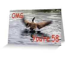 Happy 58th Birthday Goose flapping Greeting Card
