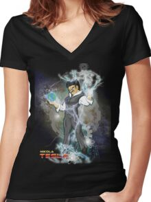BDZ Tesla Milky Way Women's Fitted V-Neck T-Shirt