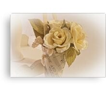 Roses And Butterfly Posy  Canvas Print