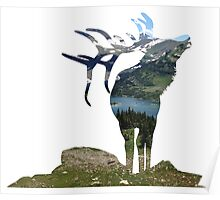 Elk in the Mountains Poster
