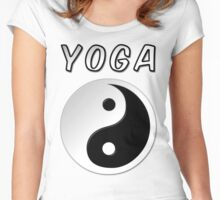 Yoga With Yin Yang Symbol Women's Fitted Scoop T-Shirt