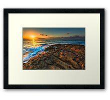 Sunrise and rocky shore Framed Print