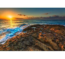 Sunrise and rocky shore Photographic Print