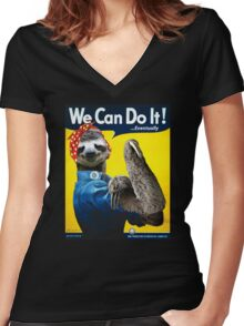 We Can Do It (...Eventually) Sloth Women's Fitted V-Neck T-Shirt