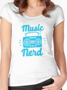 Music Nerd (with awesome 80s cassette speaker sound system) Women's Fitted Scoop T-Shirt