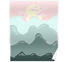 Blue Mountains, Pink Sky Poster