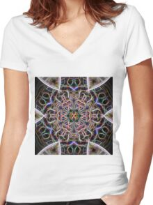 Abstract textured mandala Women's Fitted V-Neck T-Shirt