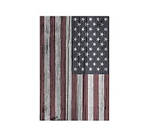 USA Flag Painted on Wood Photographic Print