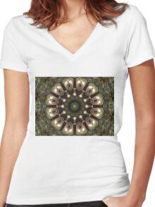 Rusty Alien Head Mandala Women's Fitted V-Neck T-Shirt