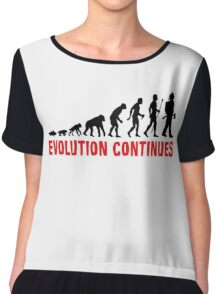 Fire Fighter Evolution Continues Funny Silhouette Chiffon Top
