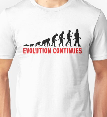 Fire Fighter Evolution Continues Funny Silhouette Unisex T-Shirt