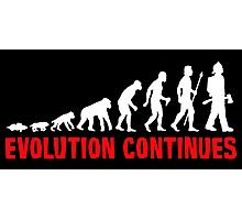 Funny Fireman Evolution Of Man Continues Photographic Print