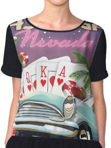 Las Vegas vintage style vacation poster Chiffon Top