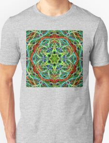 Feathered texture mandala in green and brown Unisex T-Shirt