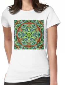 Feathered texture mandala in green and brown Womens Fitted T-Shirt