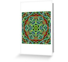 Feathered texture mandala in green and brown Greeting Card