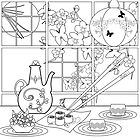 Japanese cuisine. Illustration of coloring book ,blank . by fuzzyfox