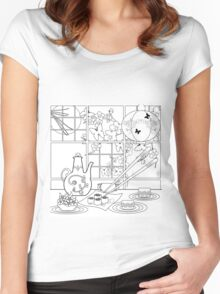 Japanese cuisine. Illustration of coloring book ,blank . Women's Fitted Scoop T-Shirt
